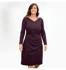 Long Sleeve, Organic Cotton, Aubergine Cinched Dress