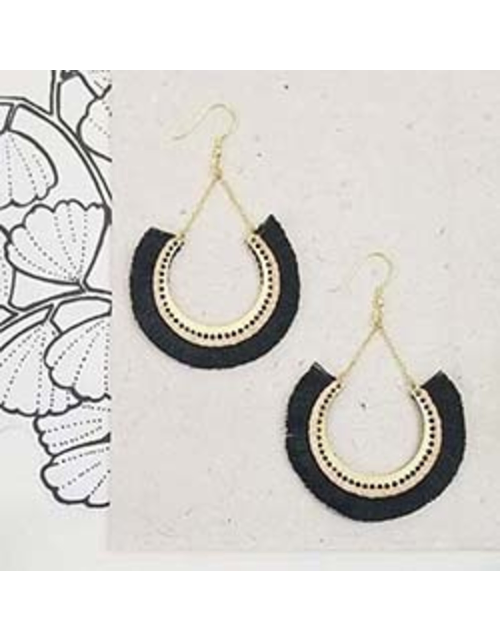 Contoured Fringe Earrings Black