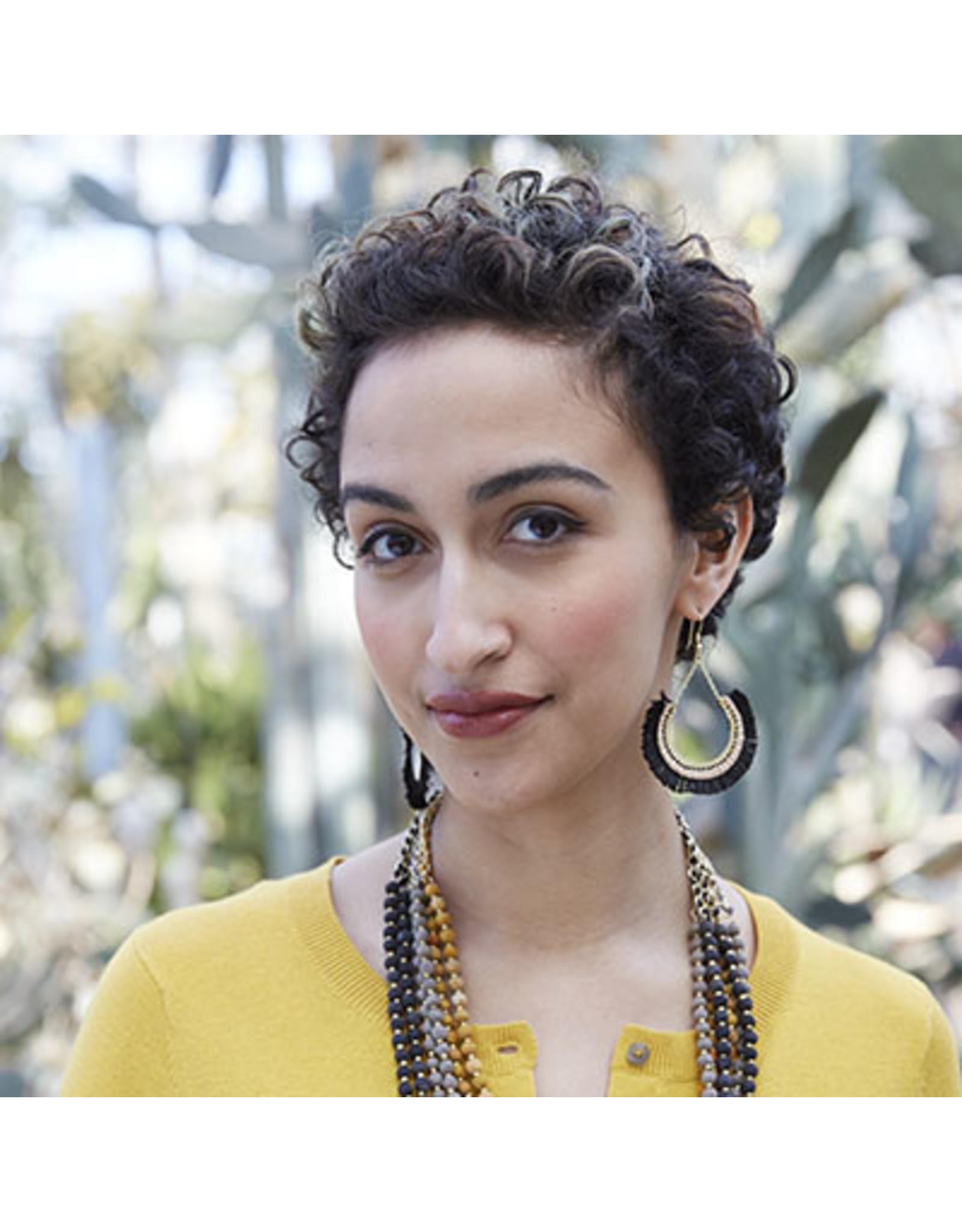 Contoured Fringe Earrings Black, India