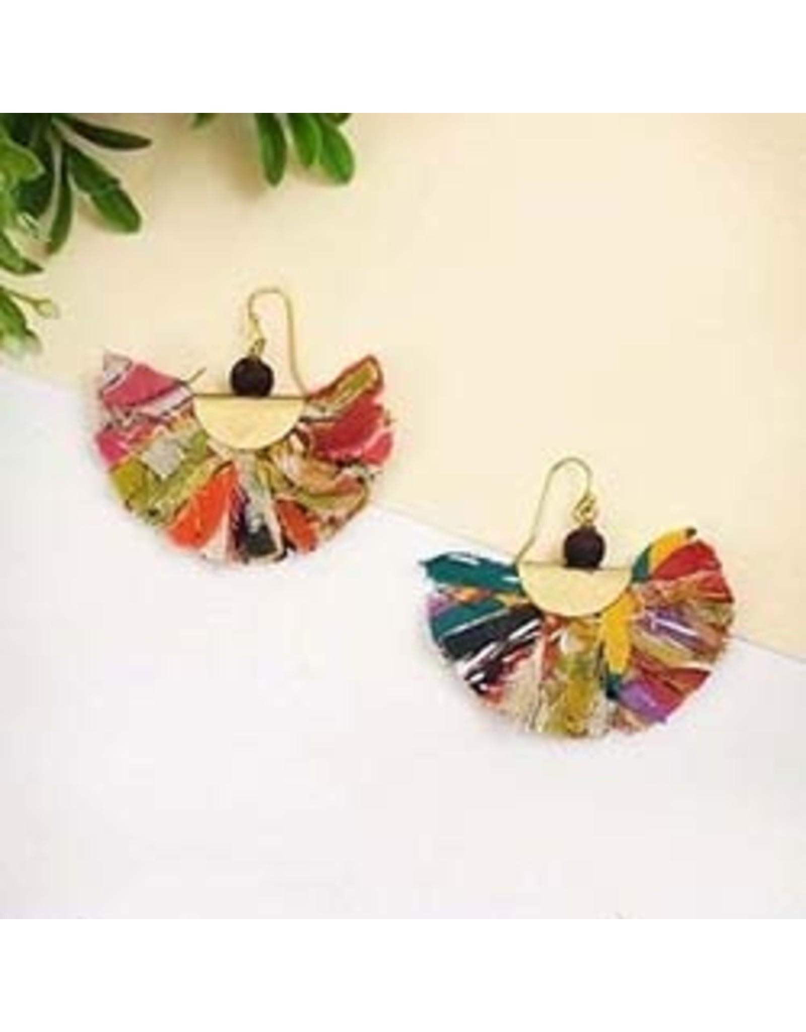 Kantha Fringed Arc Earrings, India