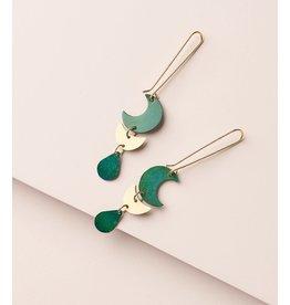 Rajani Earrings, Teal Drop, India