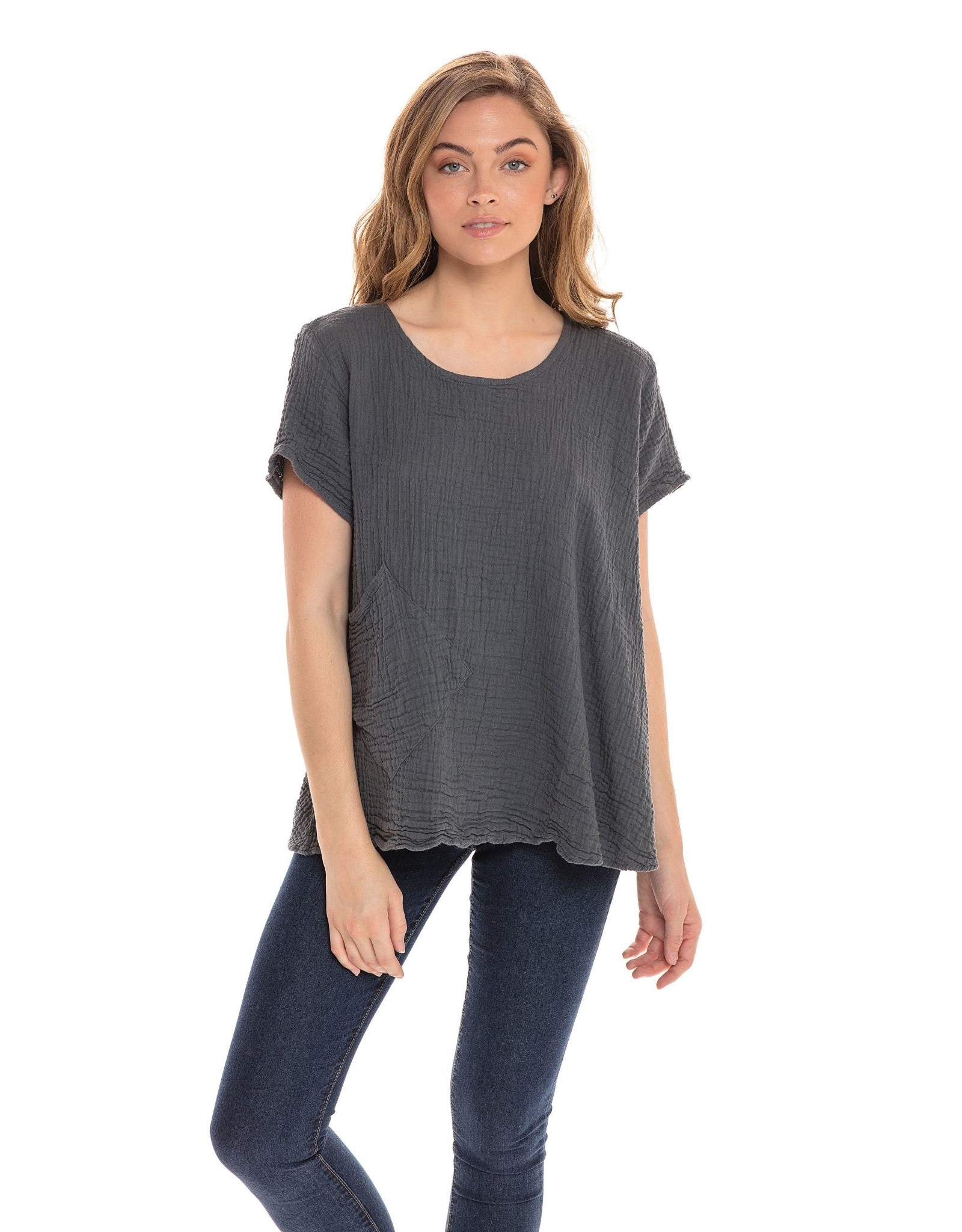 Cotton Boxy Top, Short Sleeved Pearl, Thailand