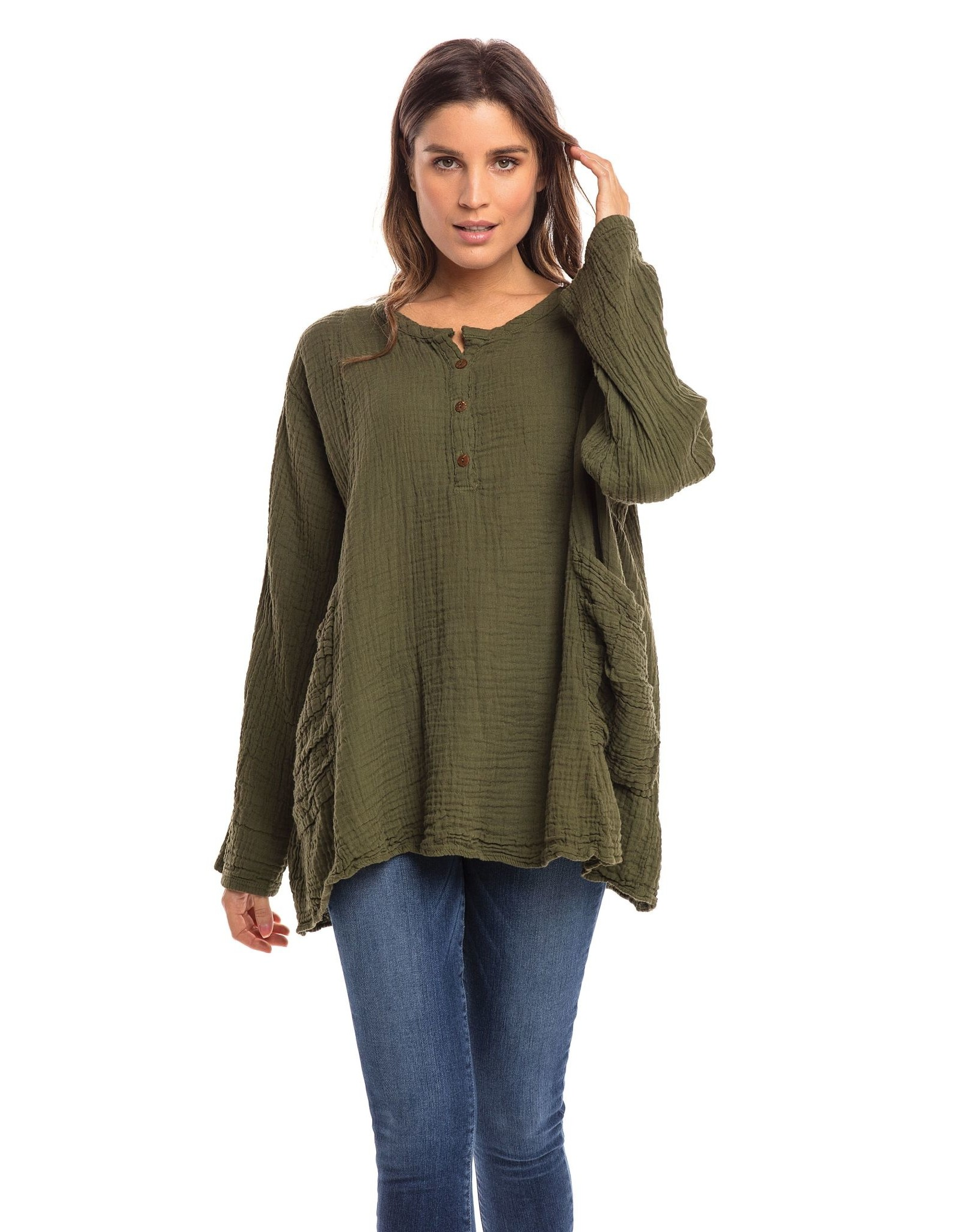 Two Pocket Double Cotton Top, Olive L/XL, Thailand