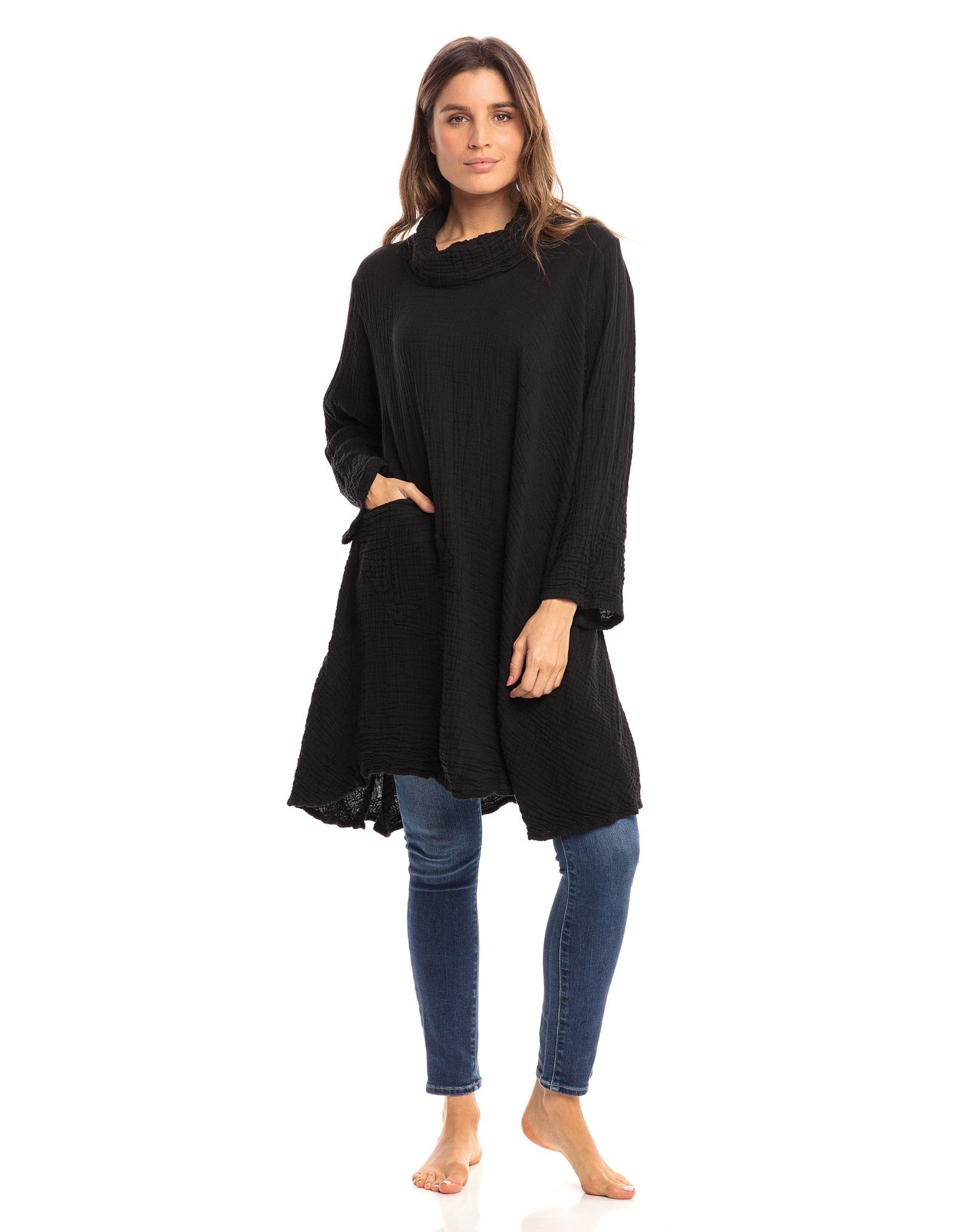 Crinkled Cotton Cowl  Tunic, Black