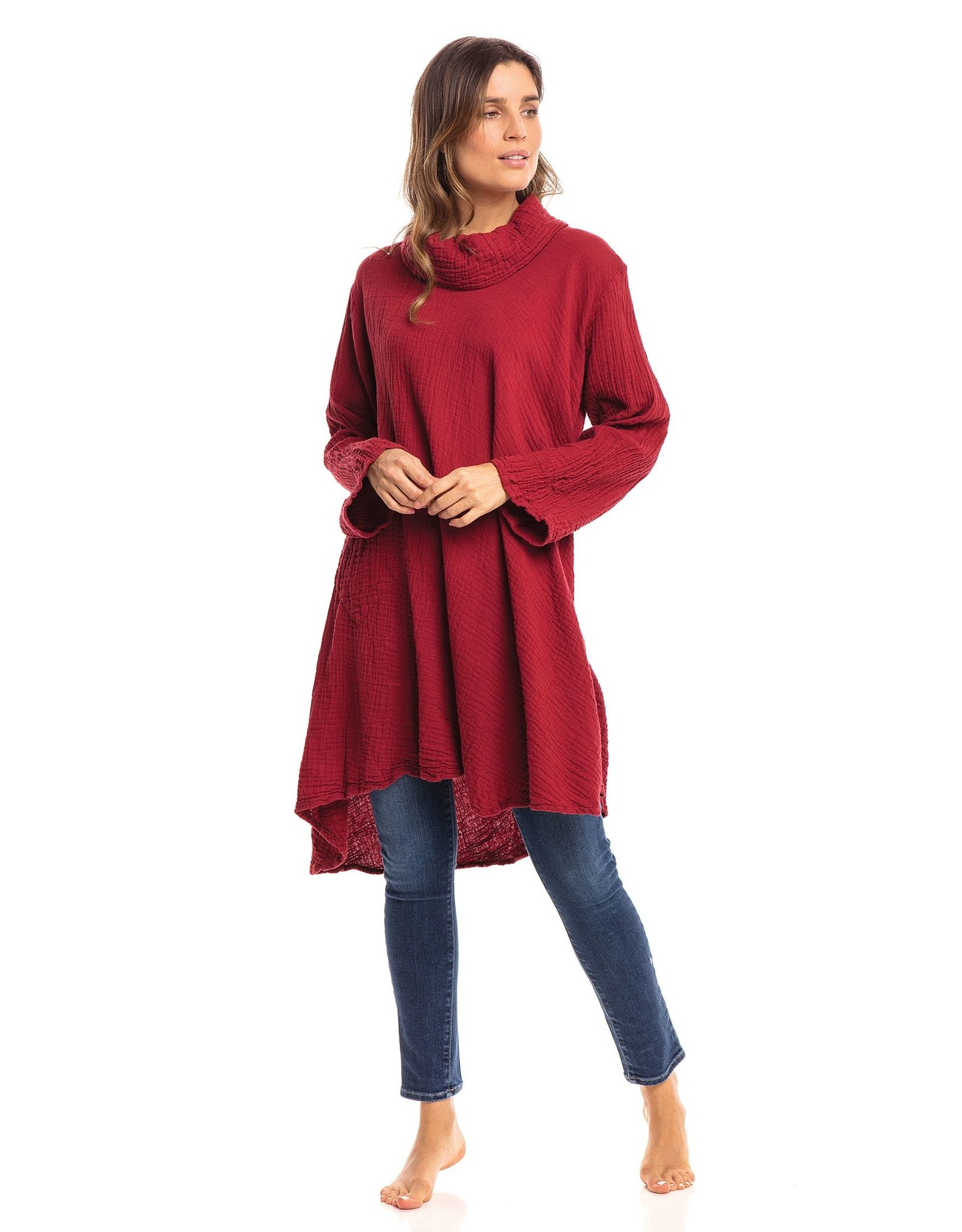Crinkle Cotton Cowl Tunic, Mineral Red