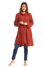 Crinkled Cotton Cowl Tunic, Rust