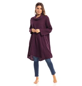Crinkled Cotton Cowl Tunic, Mulberry