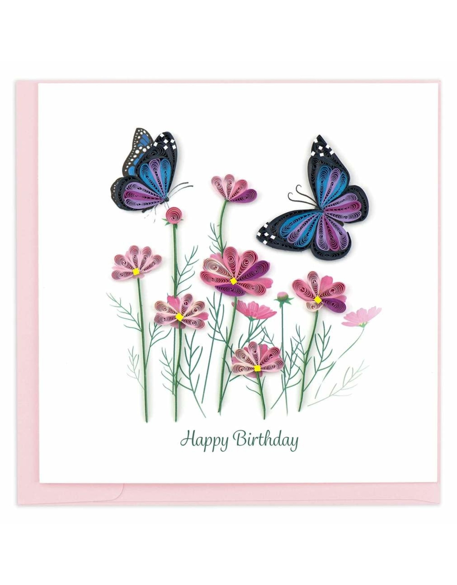 Birthday Flowers and Butterflies Quilling Card, Vietnam
