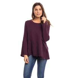 Double Cotton One Pocket Boxy Top Long Sleeve, Mulberry