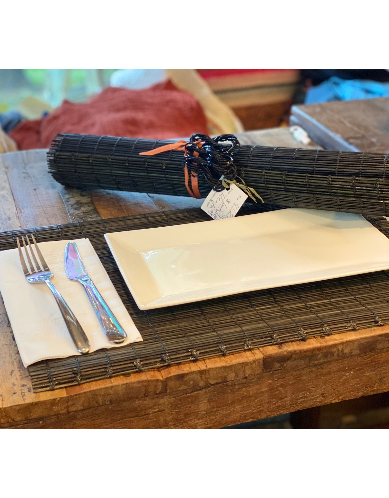 Woven Placemats w/ Napkin Rings, Black, Set of 4, Kenya