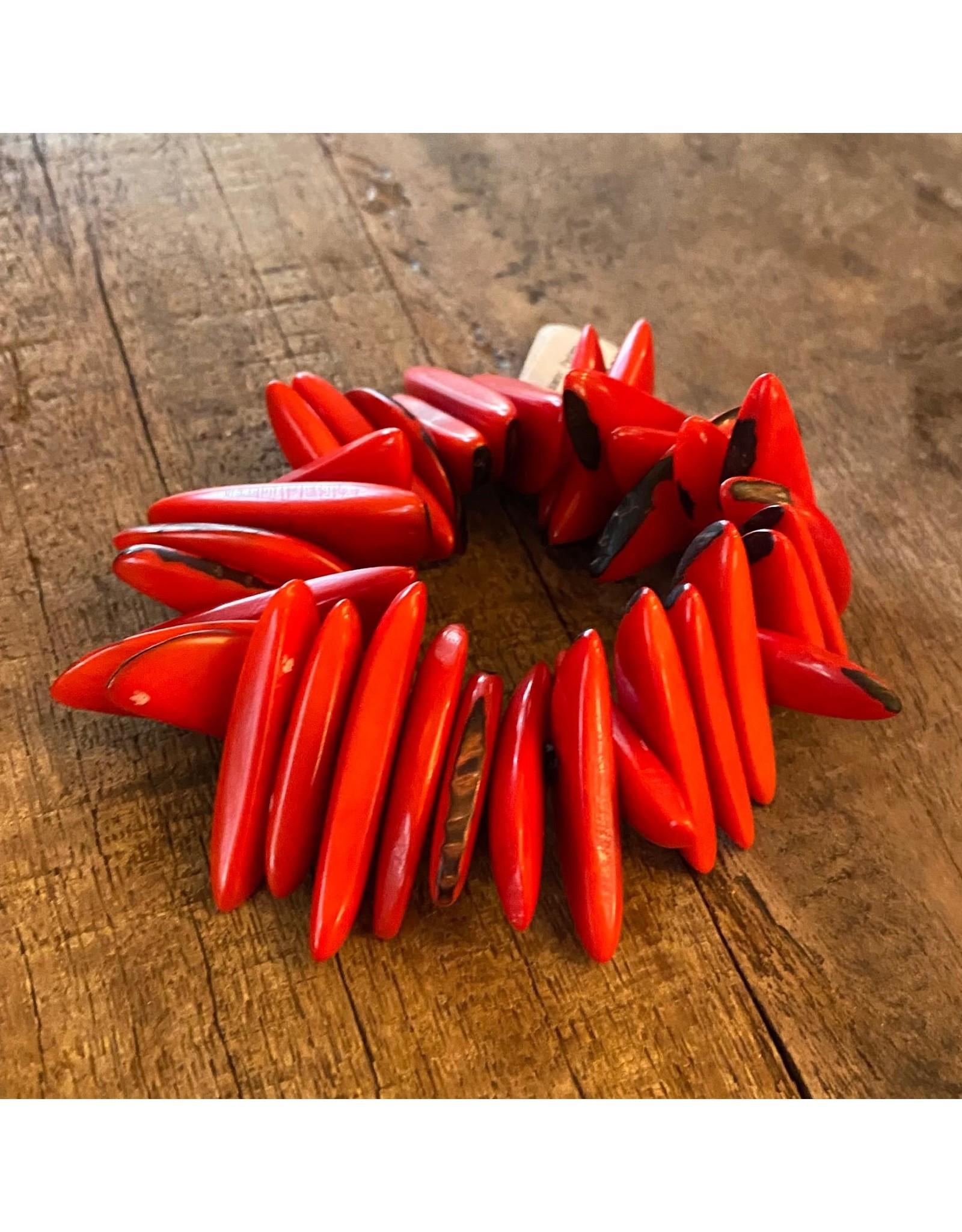 Pedazo Tagua Bracelet, Red, Ecuador