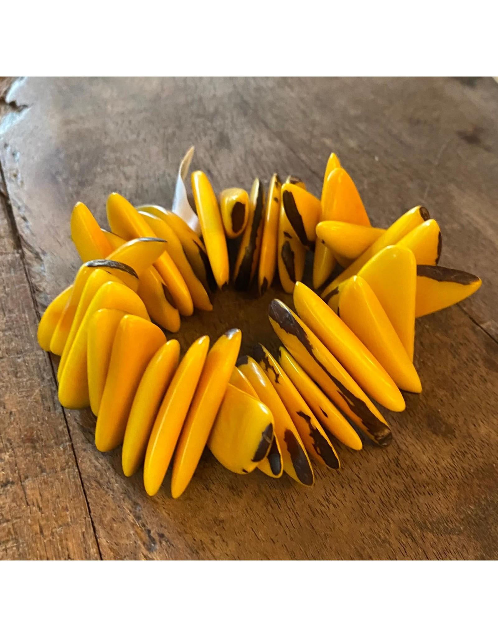 Pedazo Tagua Bracelet, Yellow,  Ecuador