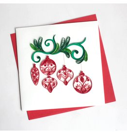 Holiday Red  Ornaments Quilling Card, Vietnam