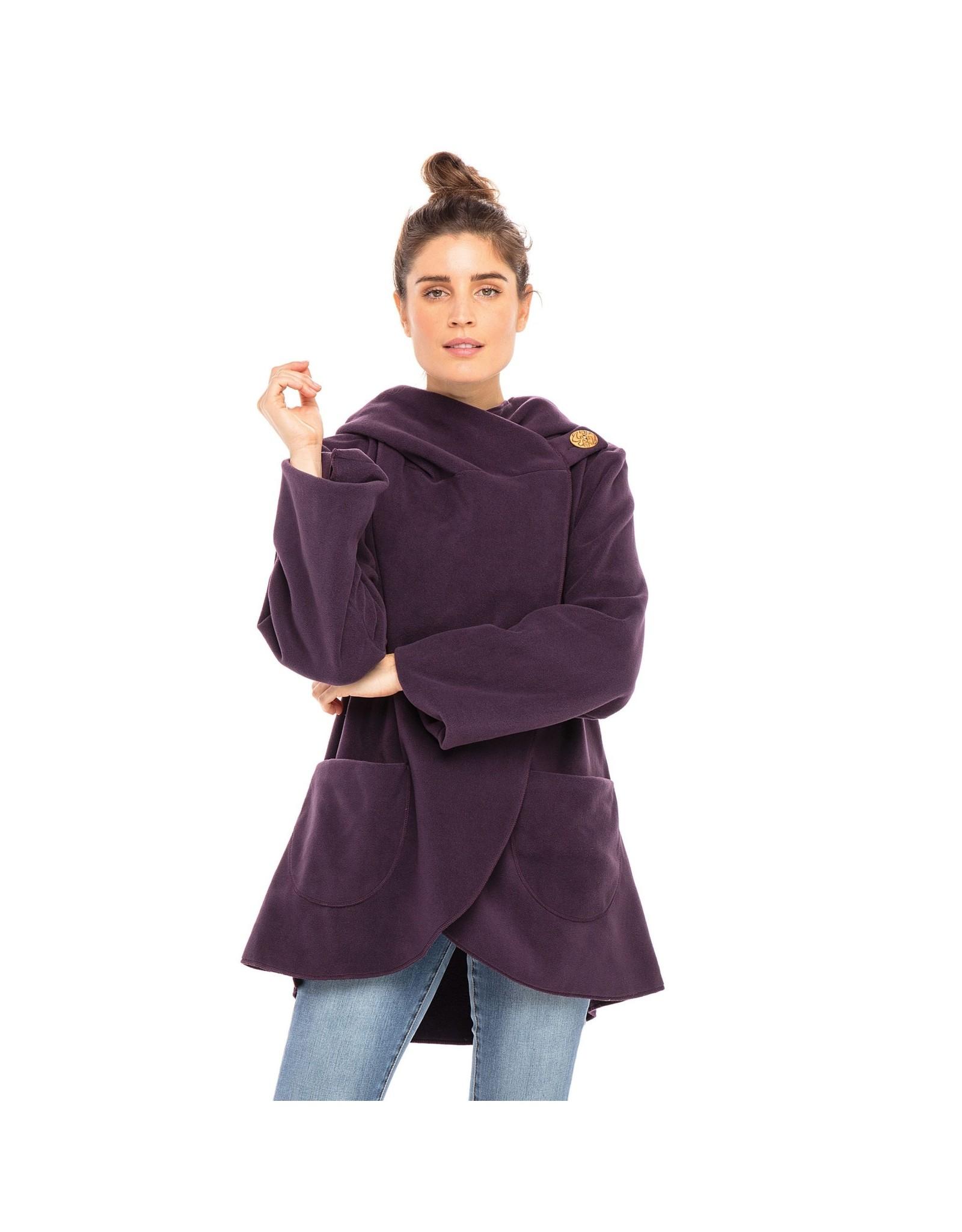 Fleece Jacket w/ Coconut Button, Dark Plum