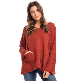 Double Cotton One Pocket Boxy Top Long Sleeve, Rust