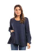 Double Cotton One Pocket Boxy Top Long Sleeve, Navy