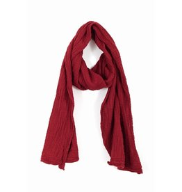 Double Cotton Crinkle  Scarf, Mineral Red,  Thailand