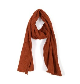 Double Cotton Crinkle Scarf, Rust,  Thailand