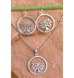 Tree of Life Necklace and Earrings Set, Nickel Free