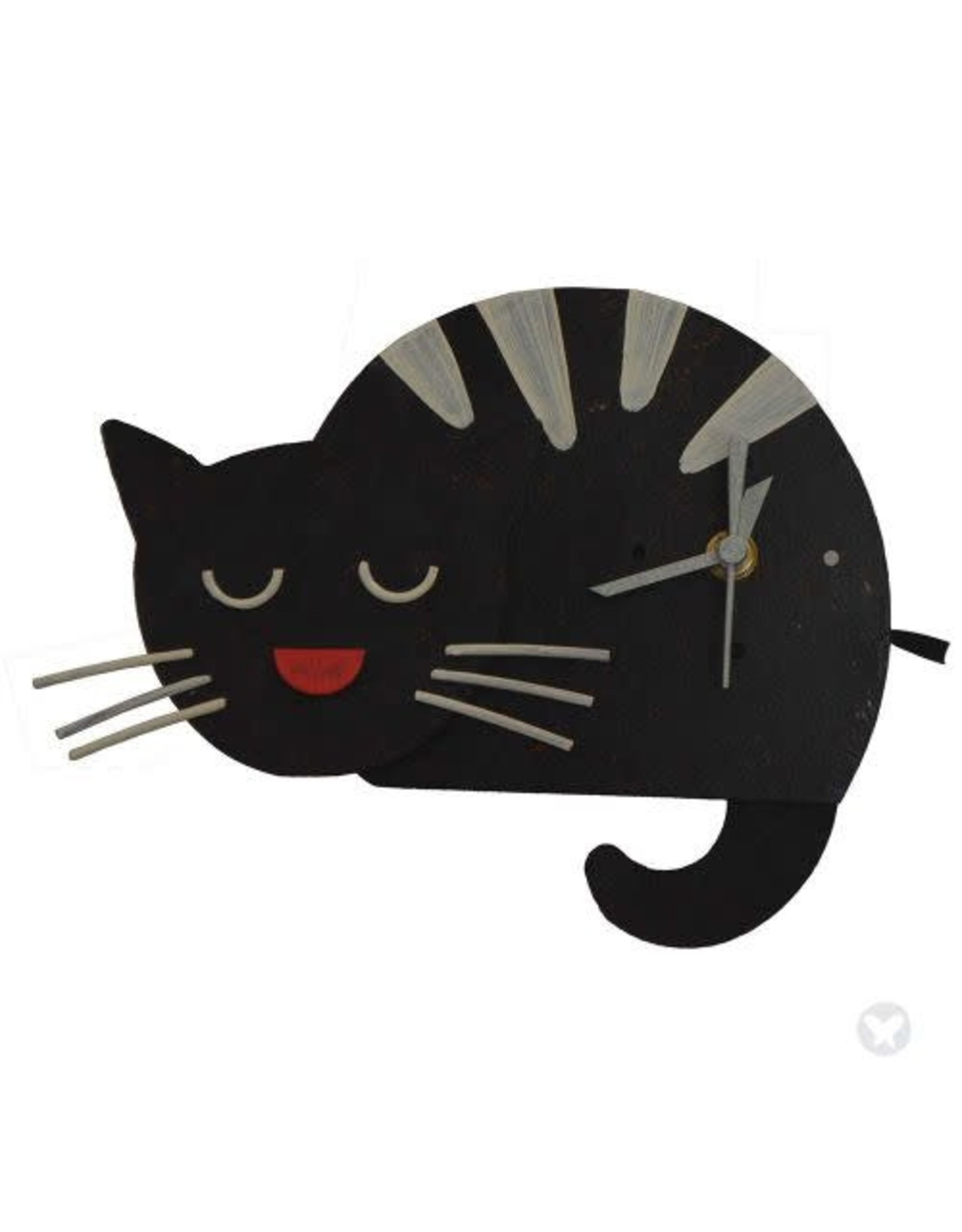 Sleepy Kitten Clock - Black