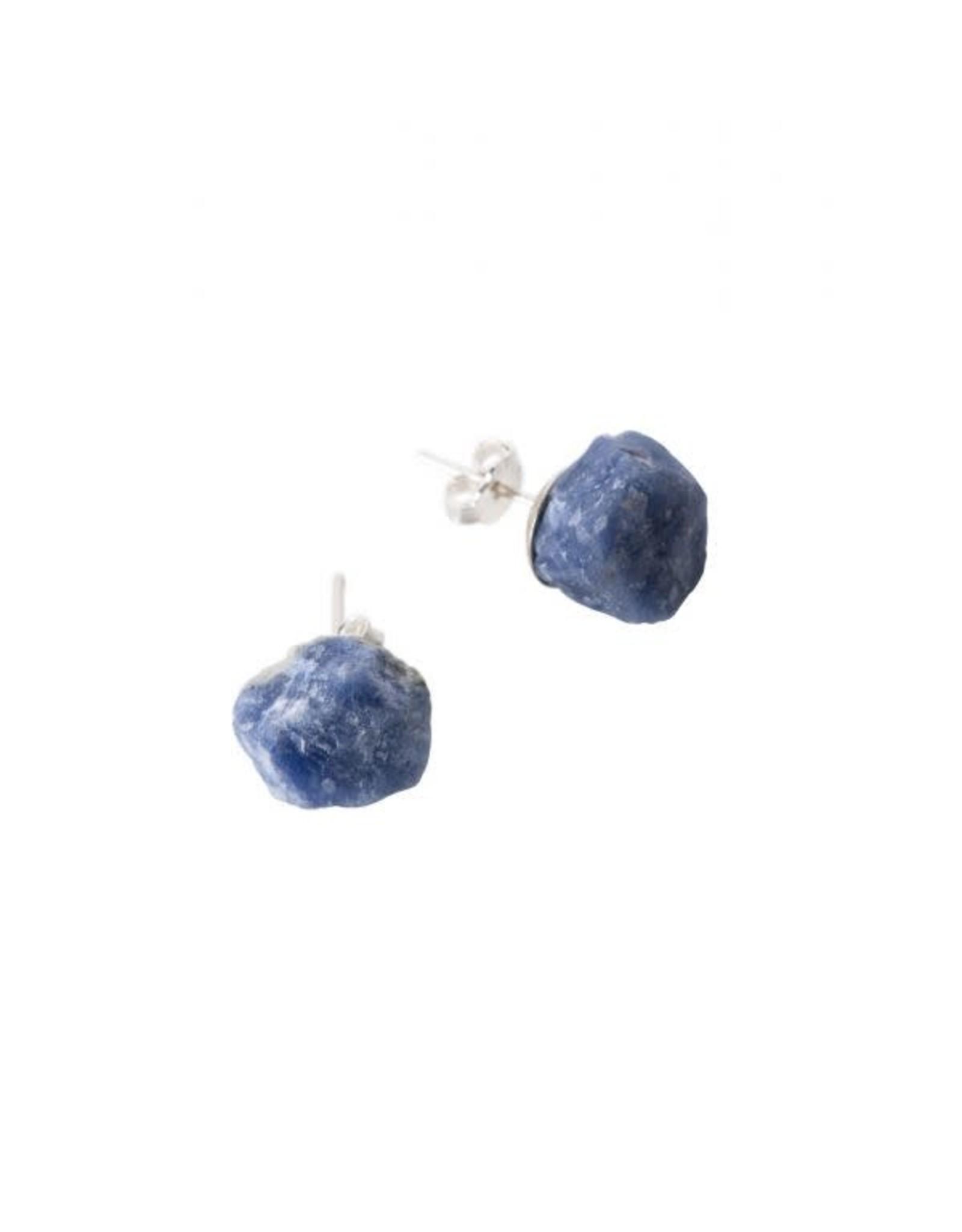 Rough Stone Sterling Earrings, Sodalite