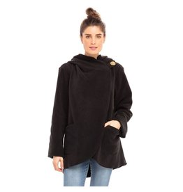 Fleece Jacket w/ Coconut Button Black