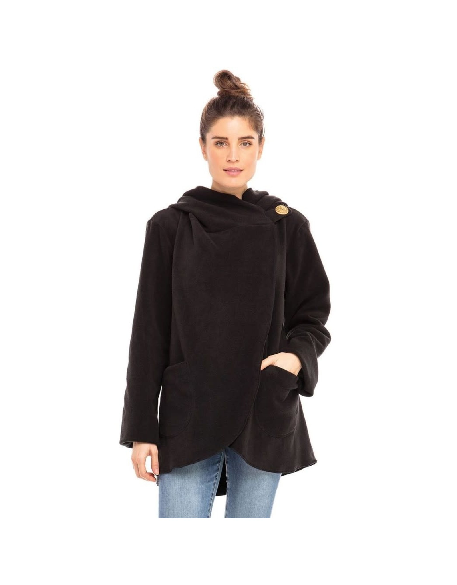 Fleece Jacket w/ Coconut Button Black