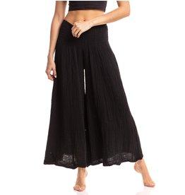 Crinkled Cotton Pants, Black, Thailand