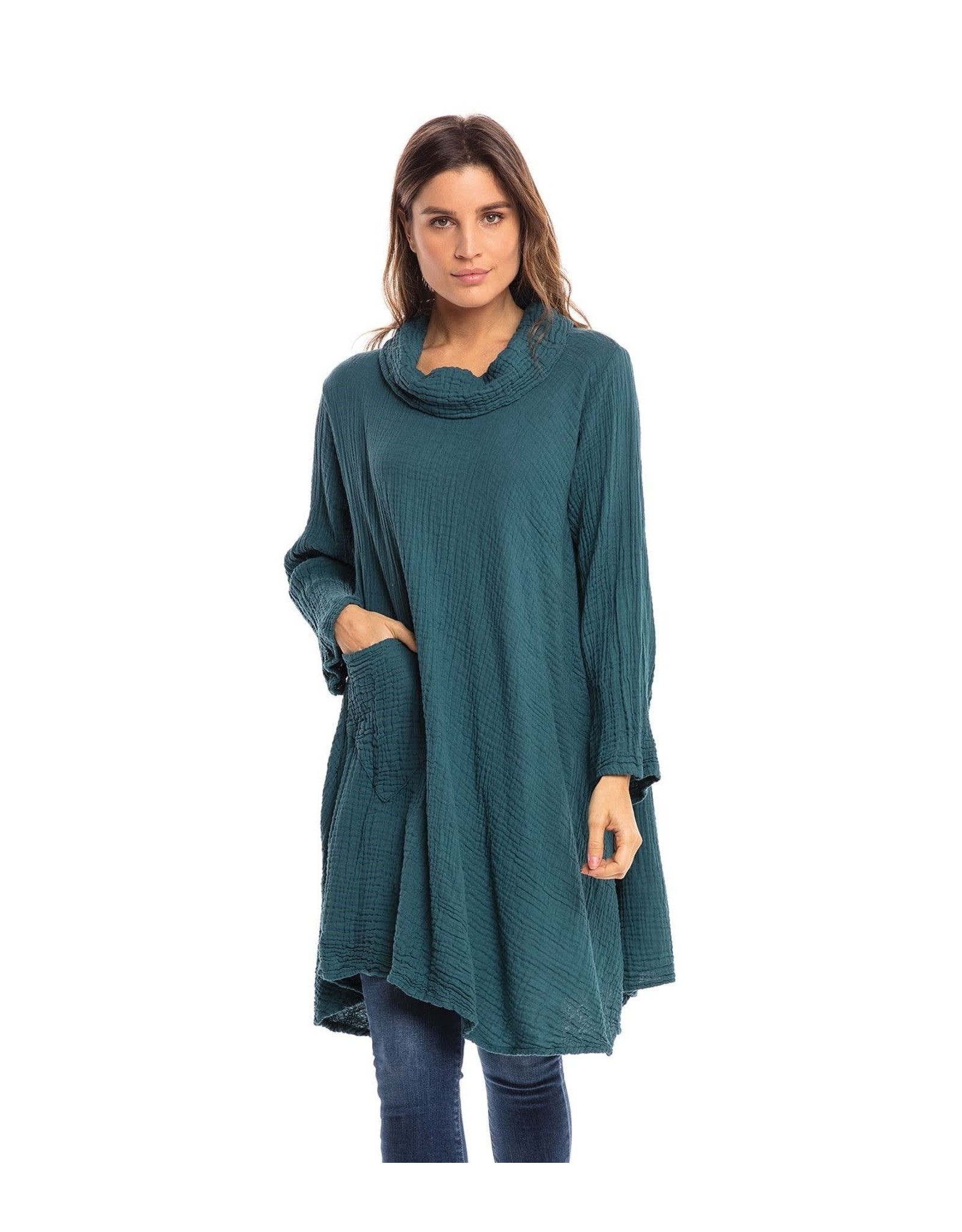 Crinkled Cotton Cowl Tunic, Cameo Blue