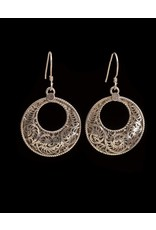 Sterling Silver Half Moon Filigree  Earrings, Thailand