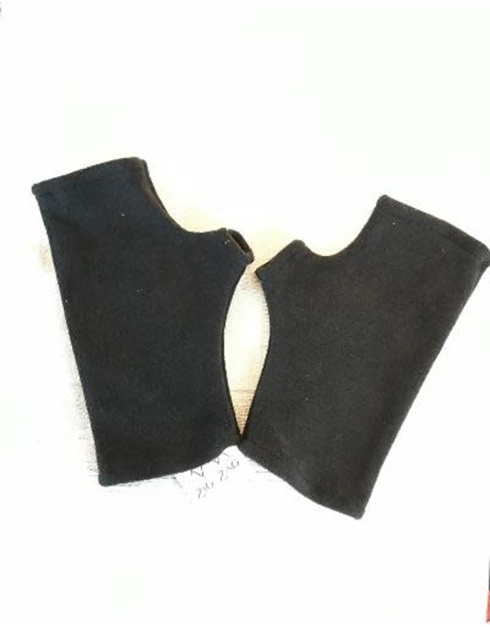 Fleece Fingerless Gloves, Black, Nepal