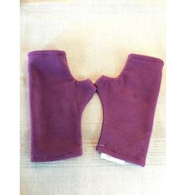 Fleece Fingerless Gloves, Plum, Nepal