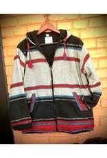 Sharma Cotton Jacket w/Hood, Black, Nepal
