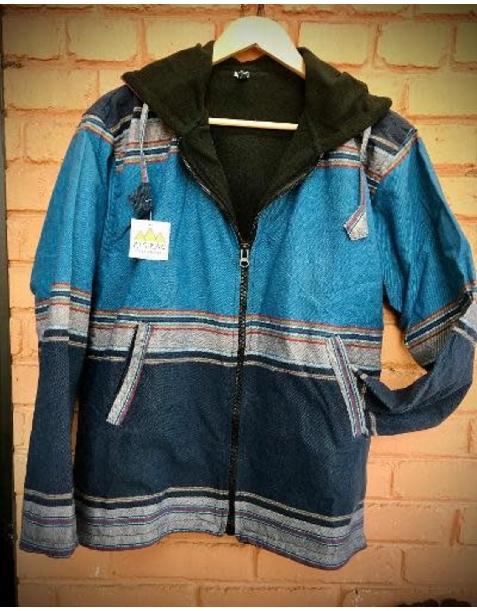Sharma Cotton Jacket w/ Hood, Blue, Nepal