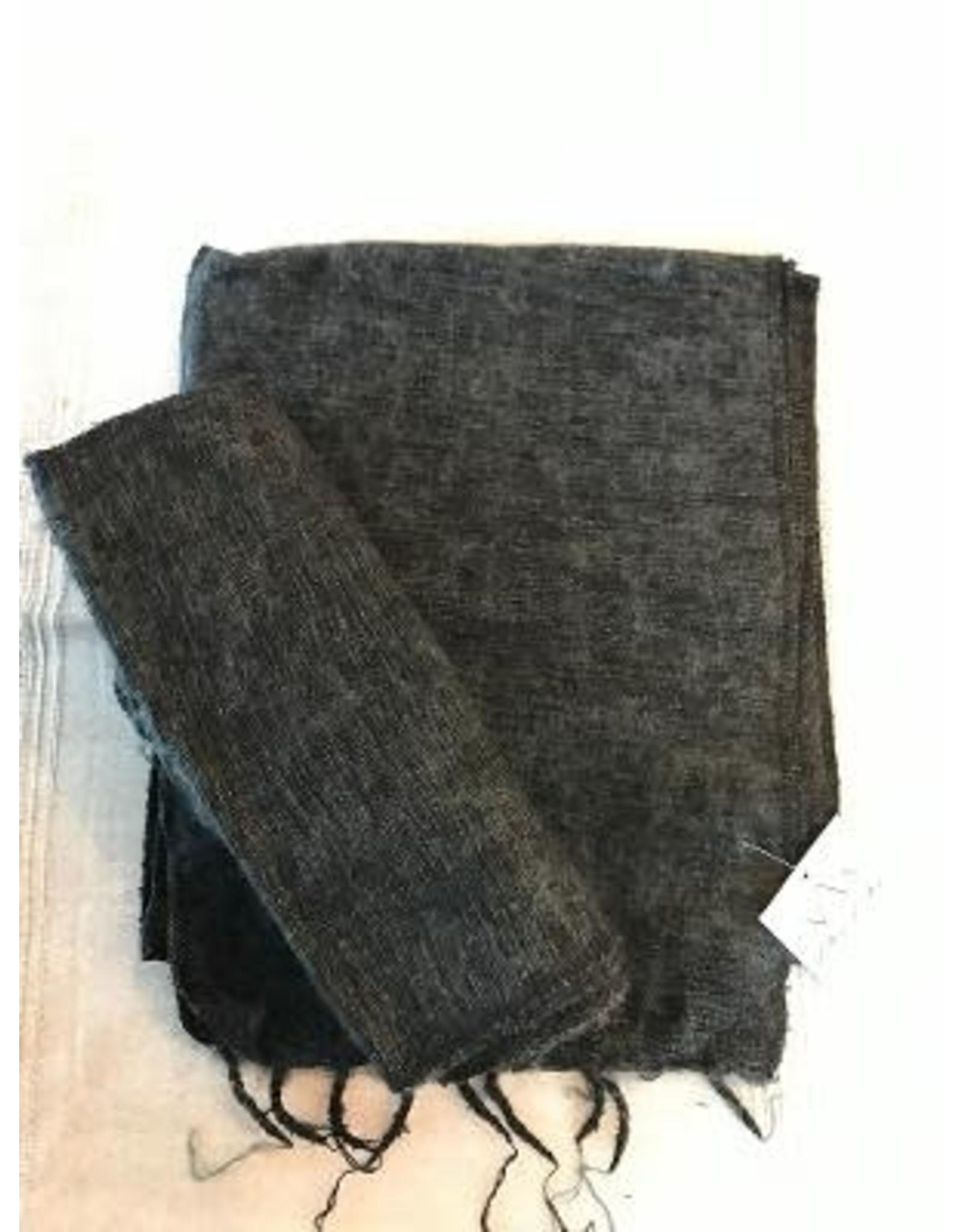 Brushed Woven Cotton, Acrylic Blanket, Charcoal