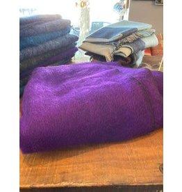 Brushed Woven Cotton/Acrylic Blanket, Purple