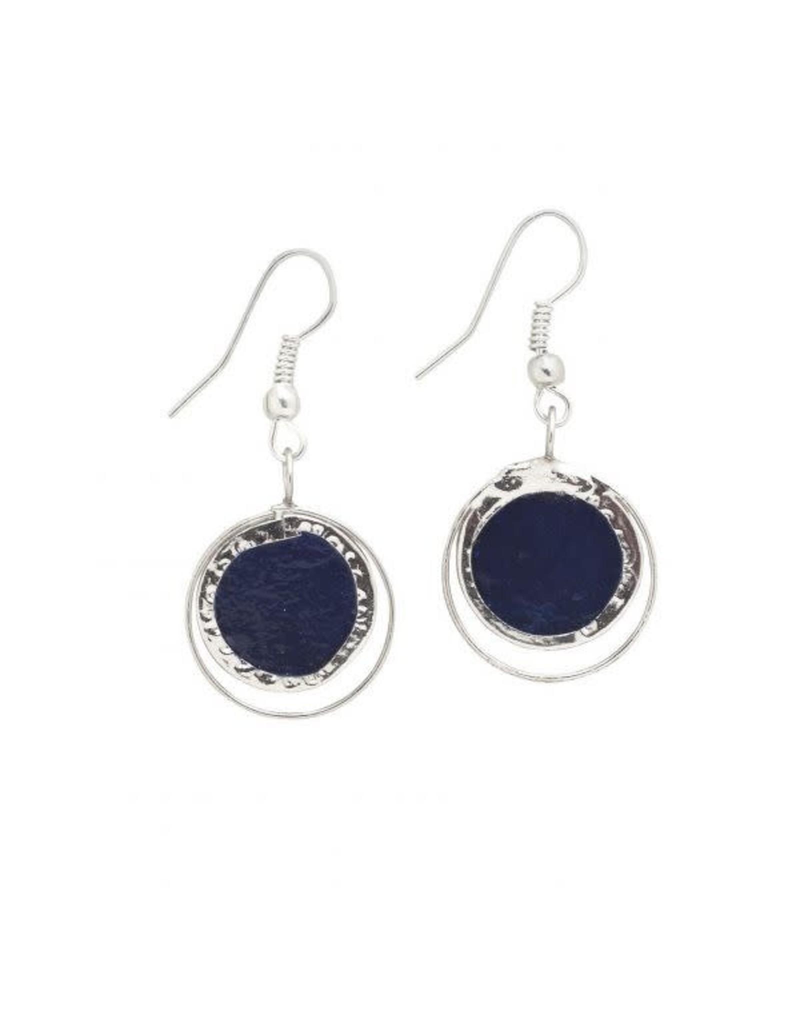 Cobalt Treasure Capiz Earrings, Philippines