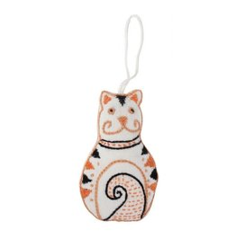 Embroidered Cat Ornament, India