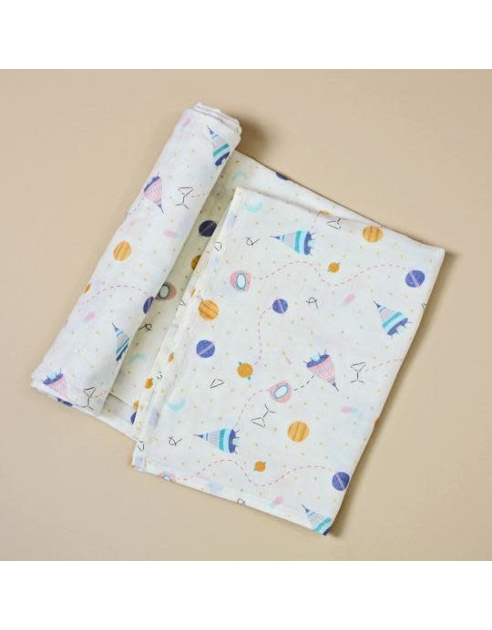 Organic Cotton Swaddle Blanket, Space Dream Natural