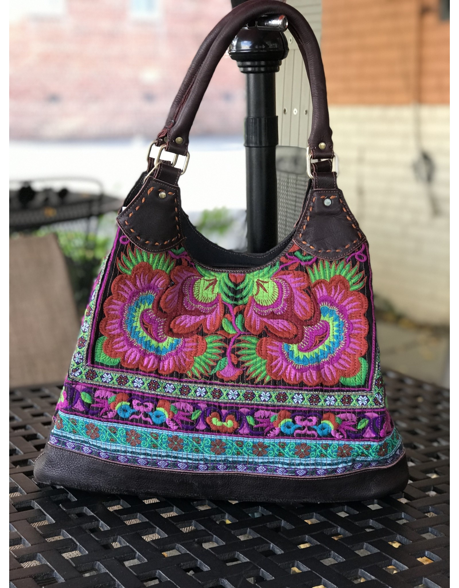 Hmong Tribal Tote Bag w/ Leather, Nepal