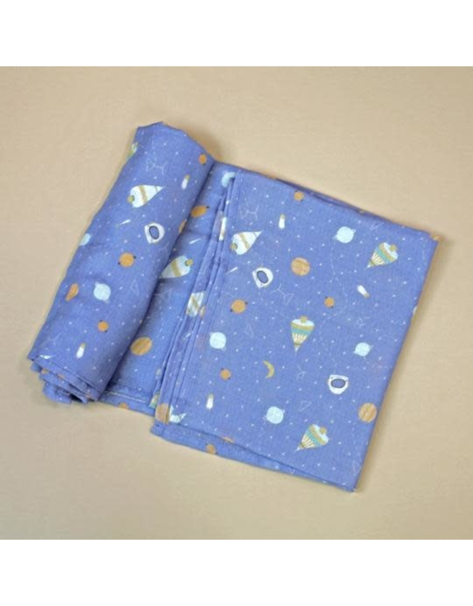 Organic Cotton Swaddle Blanket, Space Dream Blue