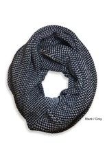 Tuck Knit Infinity Scarf, Black/Gray