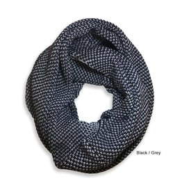 Tuck Knit Infinity Scarf, Black/Gray