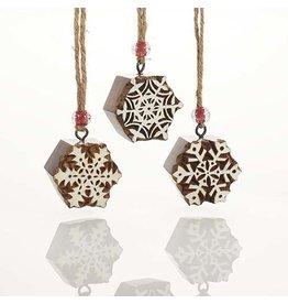 Woodblock Snowflake Ornament, INDIVIDUAL