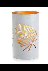 Medium White Palm Metal Lantern, India