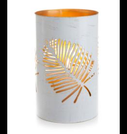 Medium White Palm Metal Lantern
