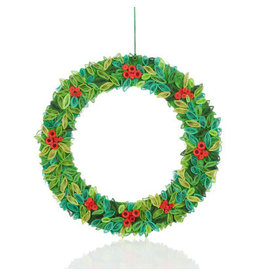 Quilled Paper Holly Wreath, Vietnam