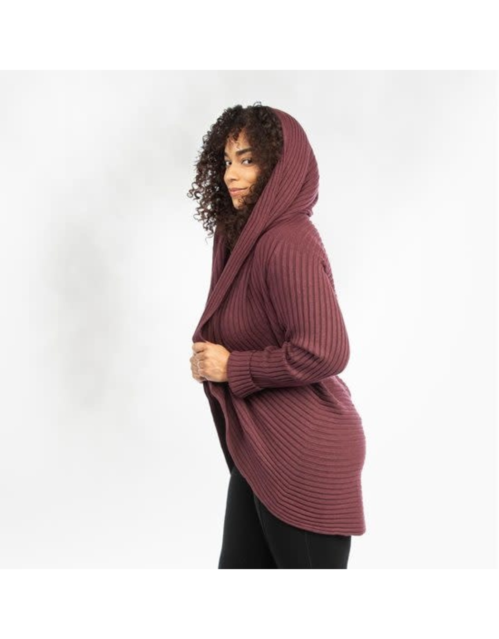 Ribbed Circle Sweater, Organic Cotton, Mulberry