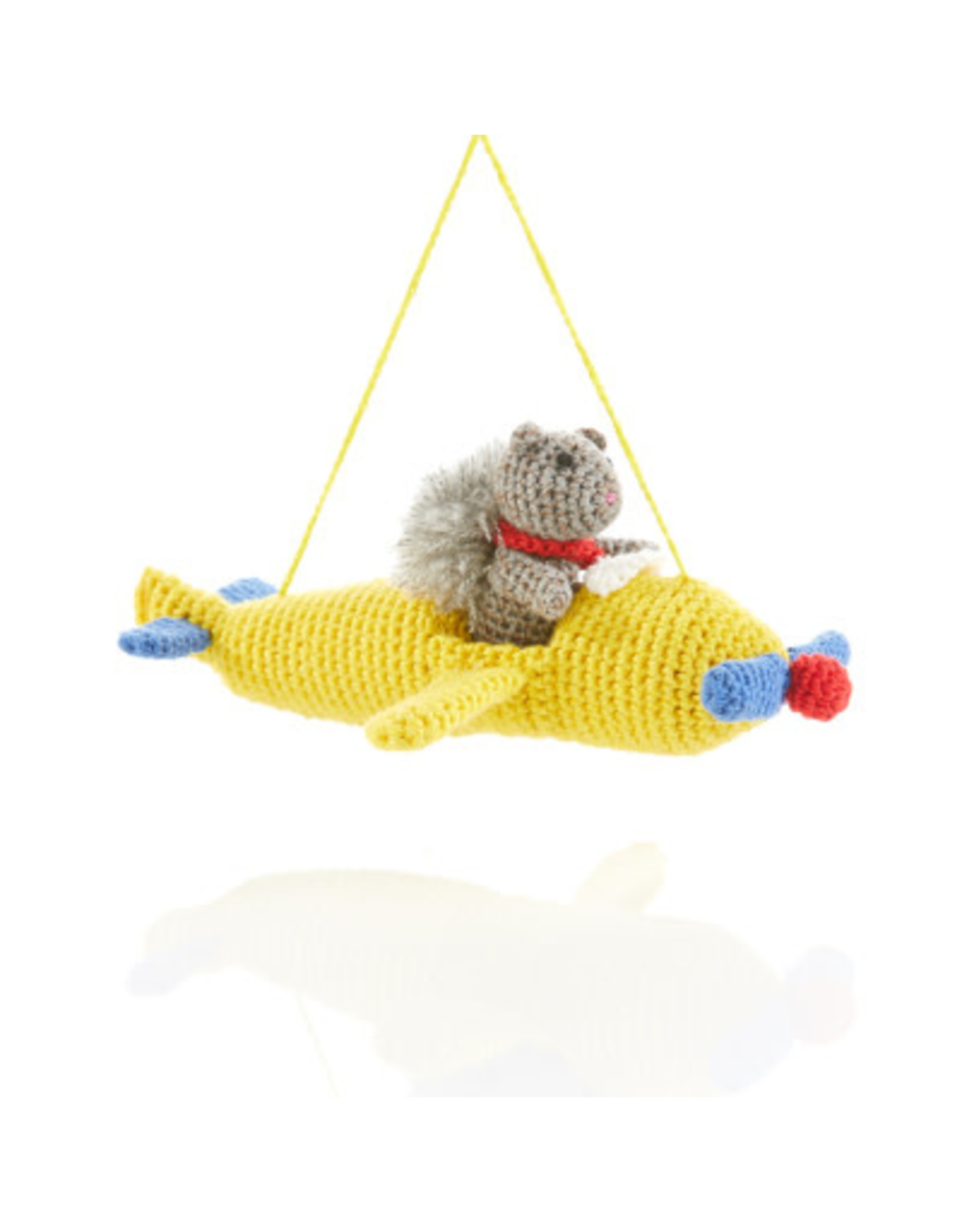 Pilot Squirrel Crocheted Ornament, Vietnam