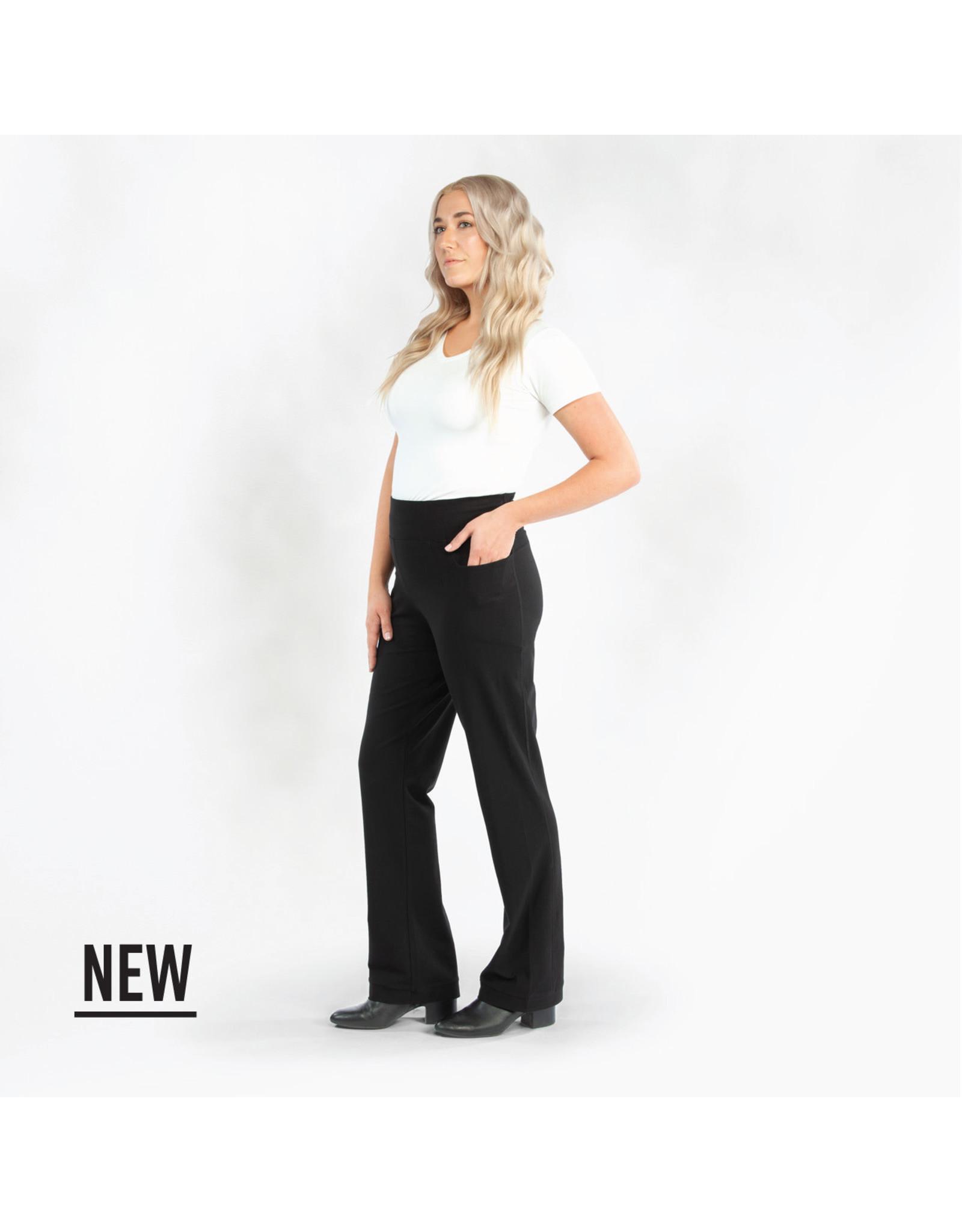 Organic Cotton Boot Cut Pants, Black